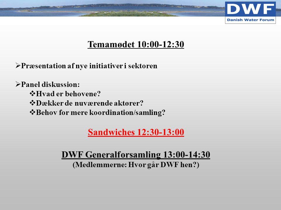 Temamødet 10:00-12:30  Præsentation af nye initiativer i sektoren  Panel diskussion:  Hvad er behovene.