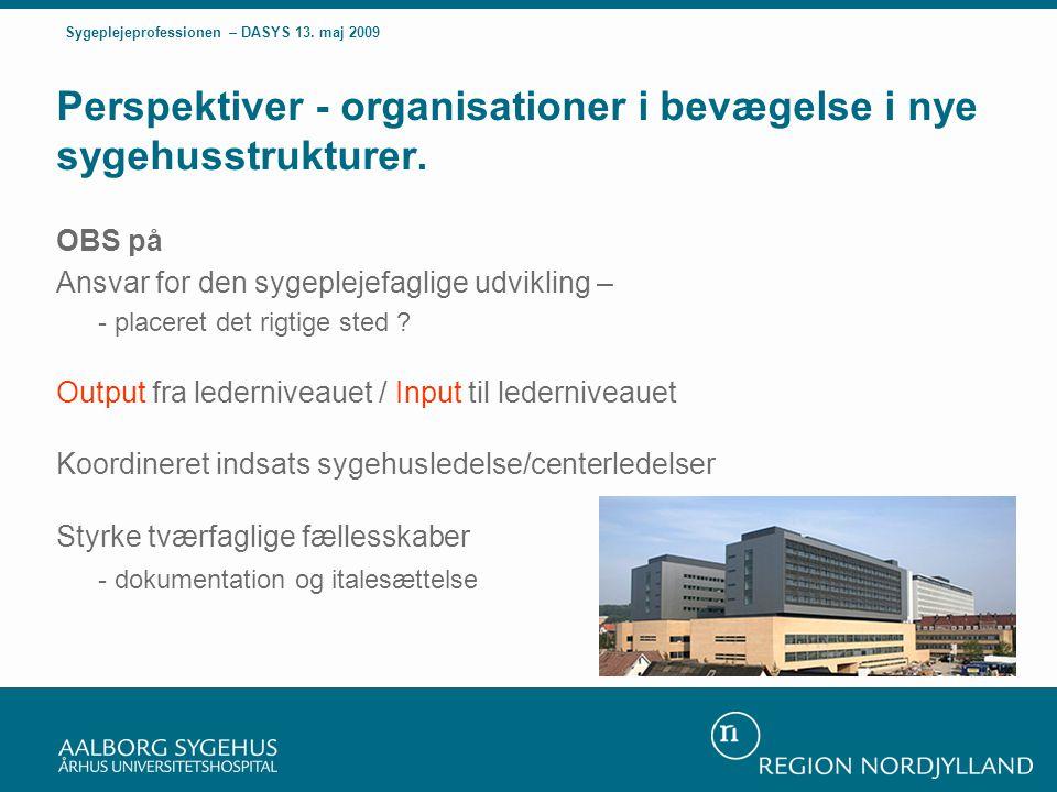 Perspektiver - organisationer i bevægelse i nye sygehusstrukturer.