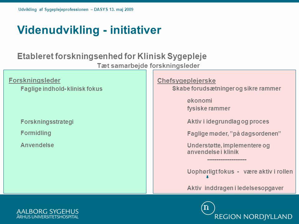 Forskningsleder Faglige indhold- klinisk fokus Forskningsstrategi Formidling Anvendelse Videnudvikling - initiativer Etableret forskningsenhed for Klinisk Sygepleje Tæt samarbejde forskningsleder Chefsygeplejerske Skabe forudsætninger og sikre rammer økonomi fysiske rammer Aktiv i idegrundlag og proces Faglige møder, på dagsordenen Understøtte, implementere og anvendelse i klinik --------------------- Uophørligt fokus - være aktiv i rollen Aktiv inddragen i ledelsesopgaver Udvikling af Sygeplejeprofessionen – DASYS 13.