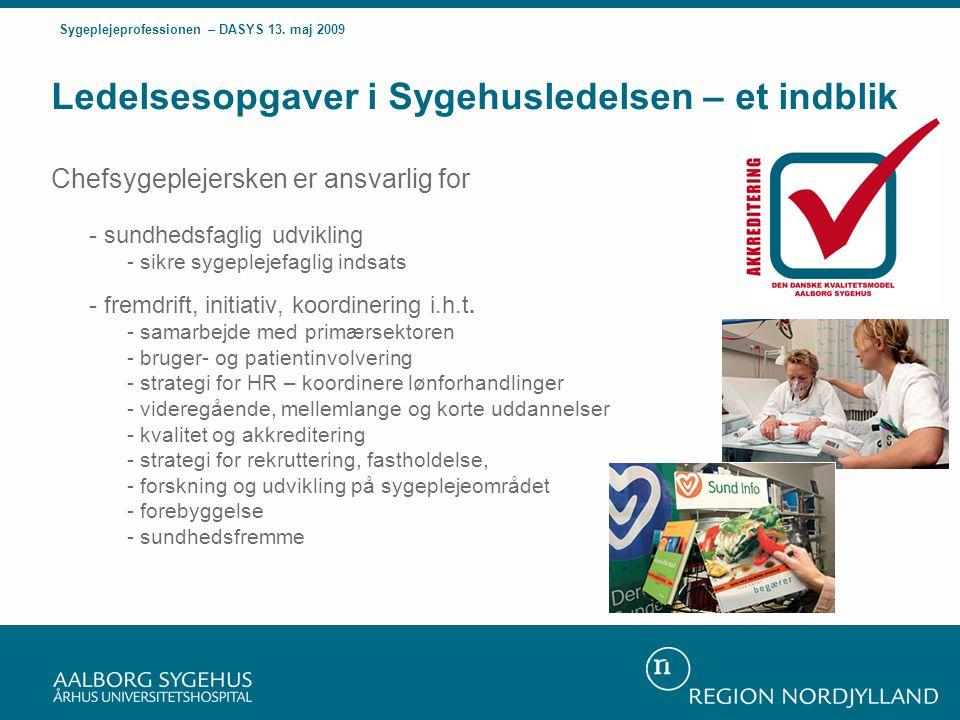 Ledelsesopgaver i Sygehusledelsen – et indblik Chefsygeplejersken er ansvarlig for - sundhedsfaglig udvikling - sikre sygeplejefaglig indsats - fremdrift, initiativ, koordinering i.h.t.