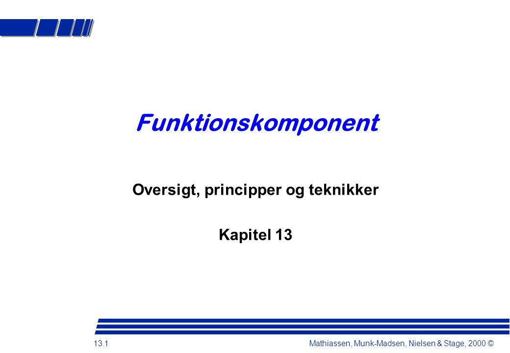 13.1 Mathiassen, Munk-Madsen, Nielsen & Stage, 2000 © Funktionskomponent Oversigt, principper og teknikker Kapitel 13