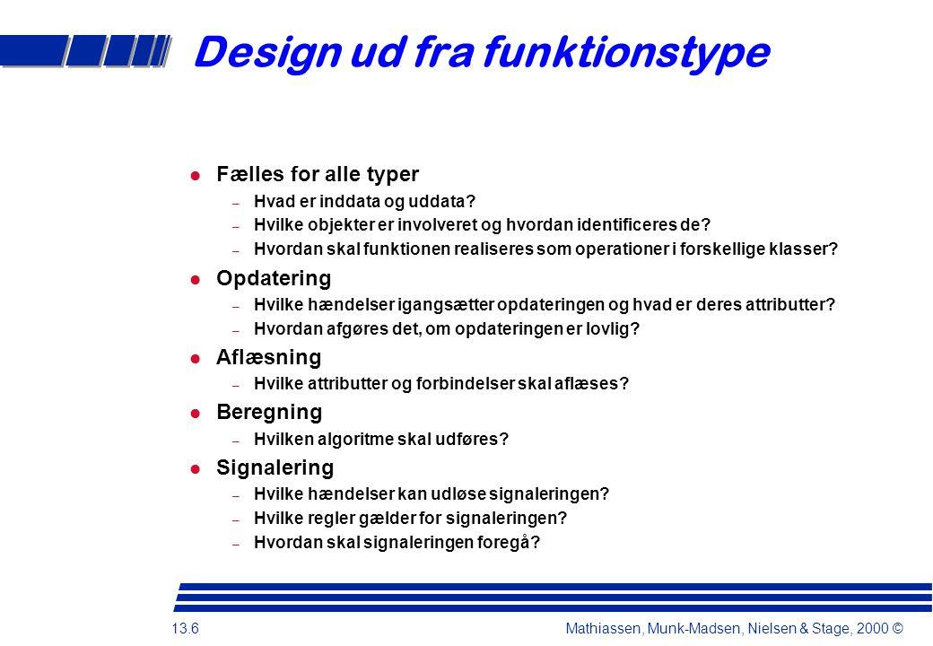 13.6 Mathiassen, Munk-Madsen, Nielsen & Stage, 2000 © Design ud fra funktionstype Fælles for alle typer – Hvad er inddata og uddata.