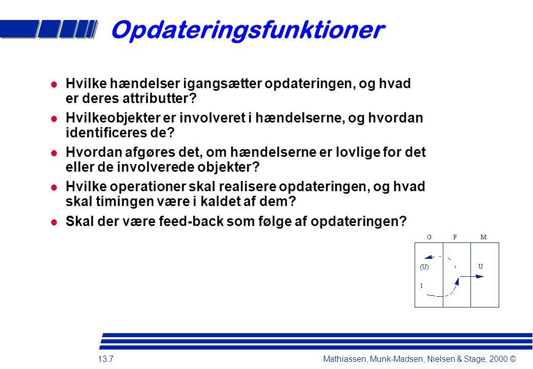 13.7 Mathiassen, Munk-Madsen, Nielsen & Stage, 2000 © Opdateringsfunktioner Hvilke hændelser igangsætter opdateringen, og hvad er deres attributter.