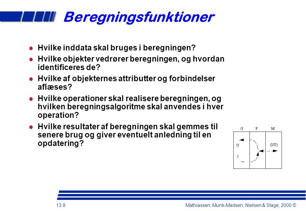 13.9 Mathiassen, Munk-Madsen, Nielsen & Stage, 2000 © Hvilke inddata skal bruges i beregningen.