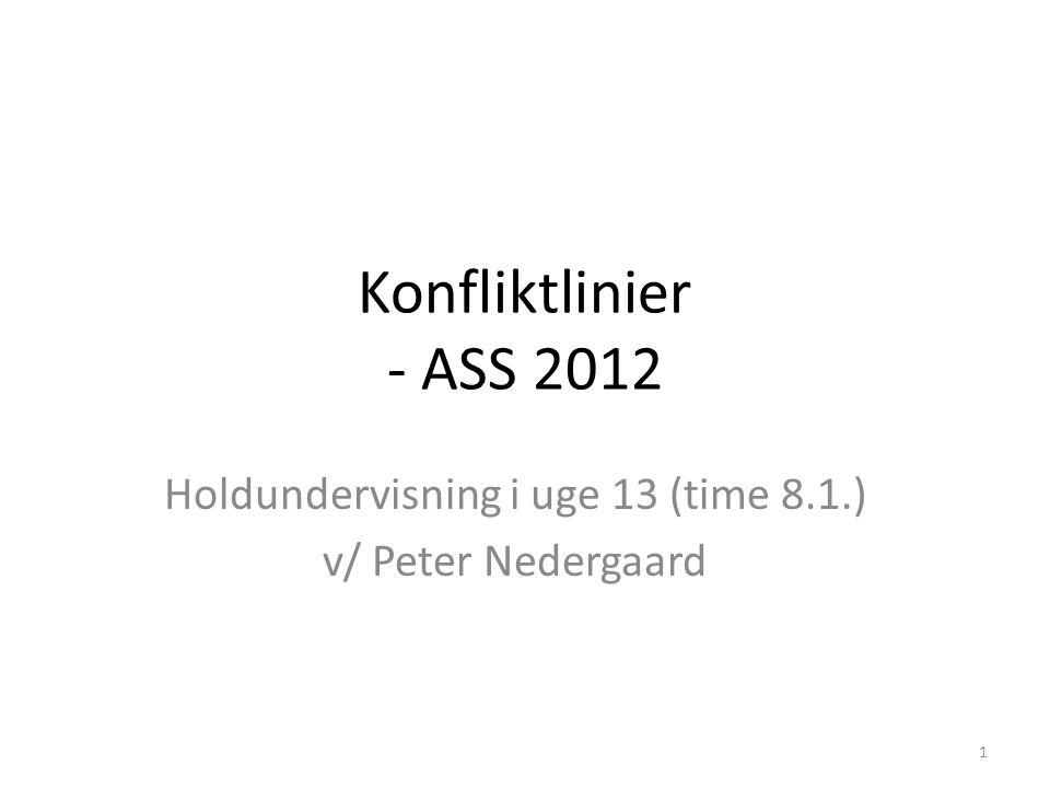 Konfliktlinier - ASS 2012 Holdundervisning i uge 13 (time 8.1.) v/ Peter Nedergaard 1