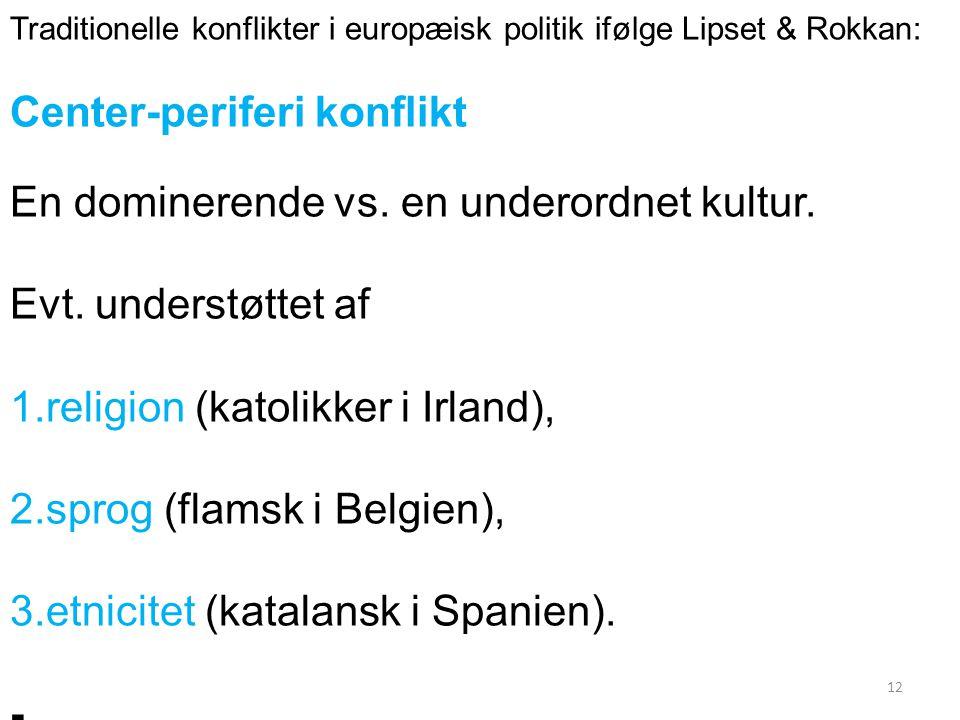 Traditionelle konflikter i europæisk politik ifølge Lipset & Rokkan: Center-periferi konflikt En dominerende vs.