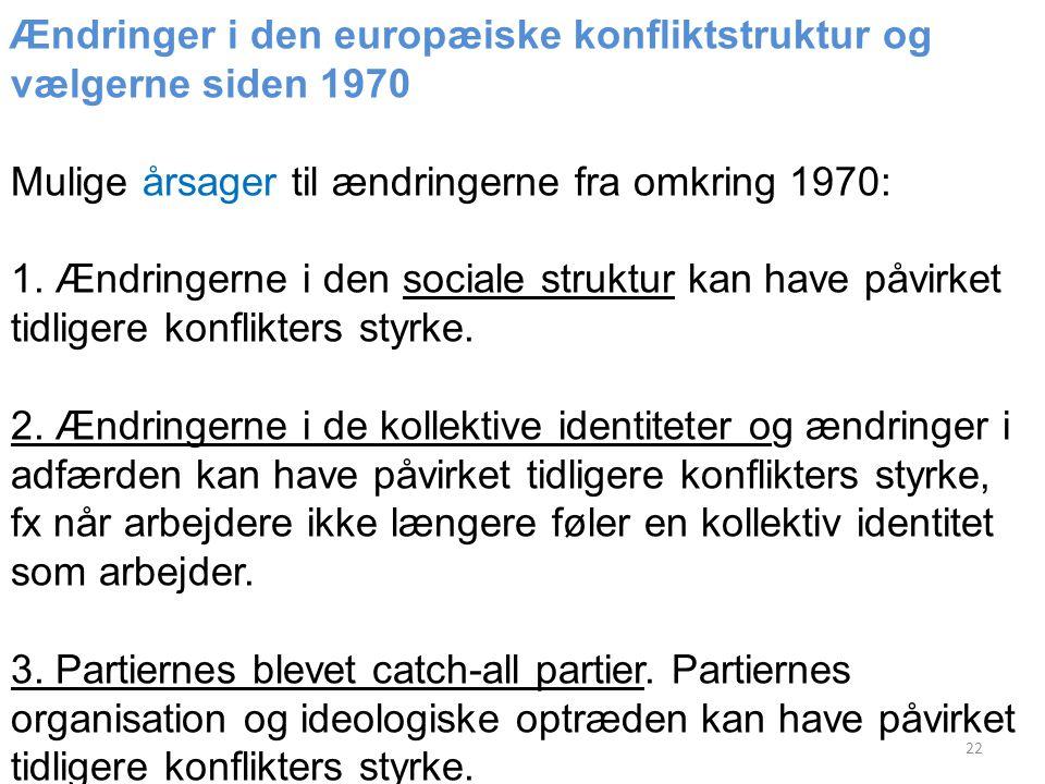 Ændringer i den europæiske konfliktstruktur og vælgerne siden 1970 Mulige årsager til ændringerne fra omkring 1970: 1.