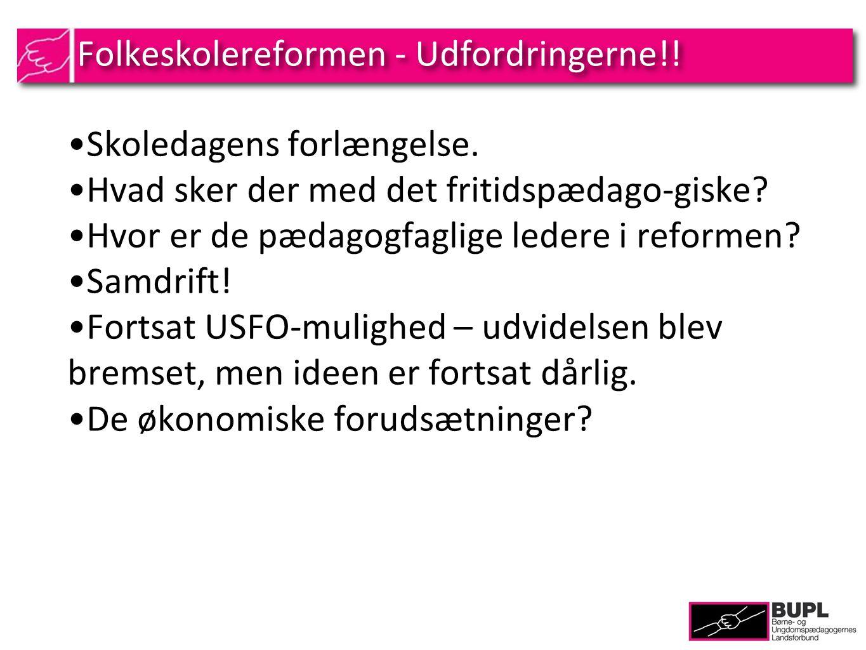 Folkeskolereformen - Udfordringerne!. Skoledagens forlængelse.