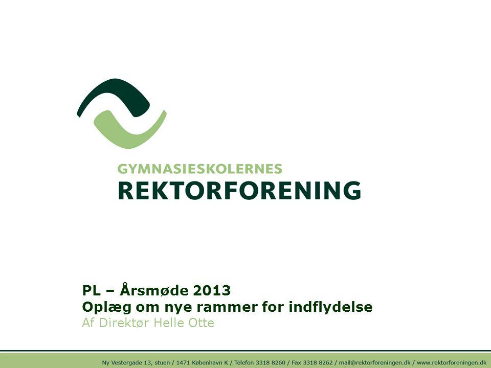 PL – Årsmøde 2013 Oplæg om nye rammer for indflydelse Af Direktør Helle Otte