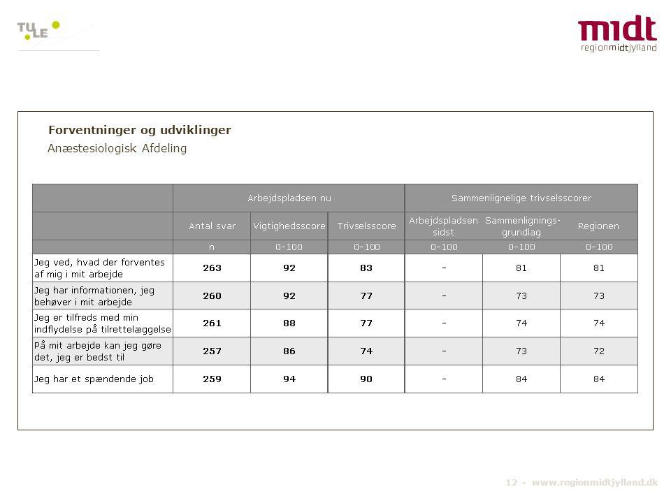 12 ▪ www.regionmidtjylland.dk Forventninger og udviklinger Anæstesiologisk Afdeling