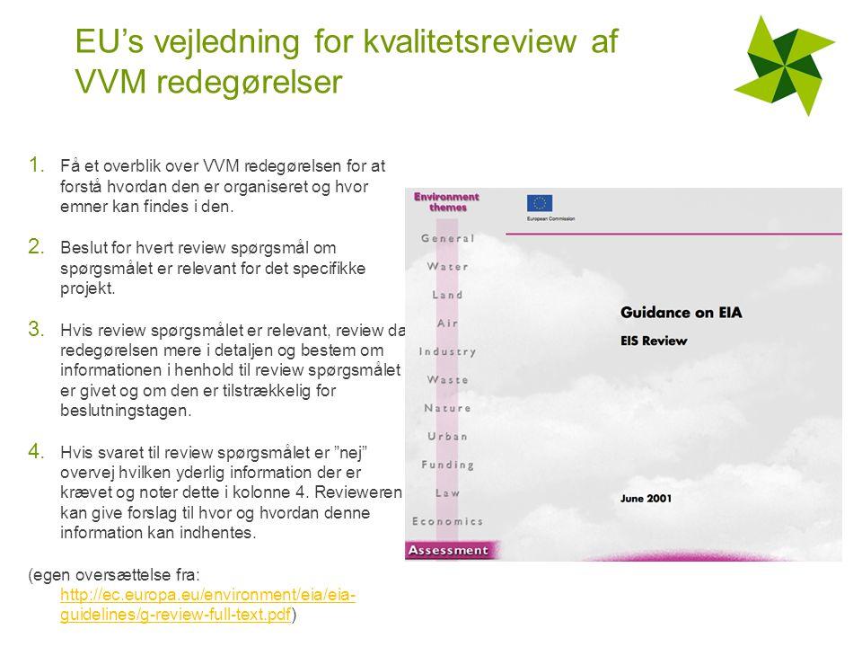 EU's vejledning for kvalitetsreview af VVM redegørelser 1.