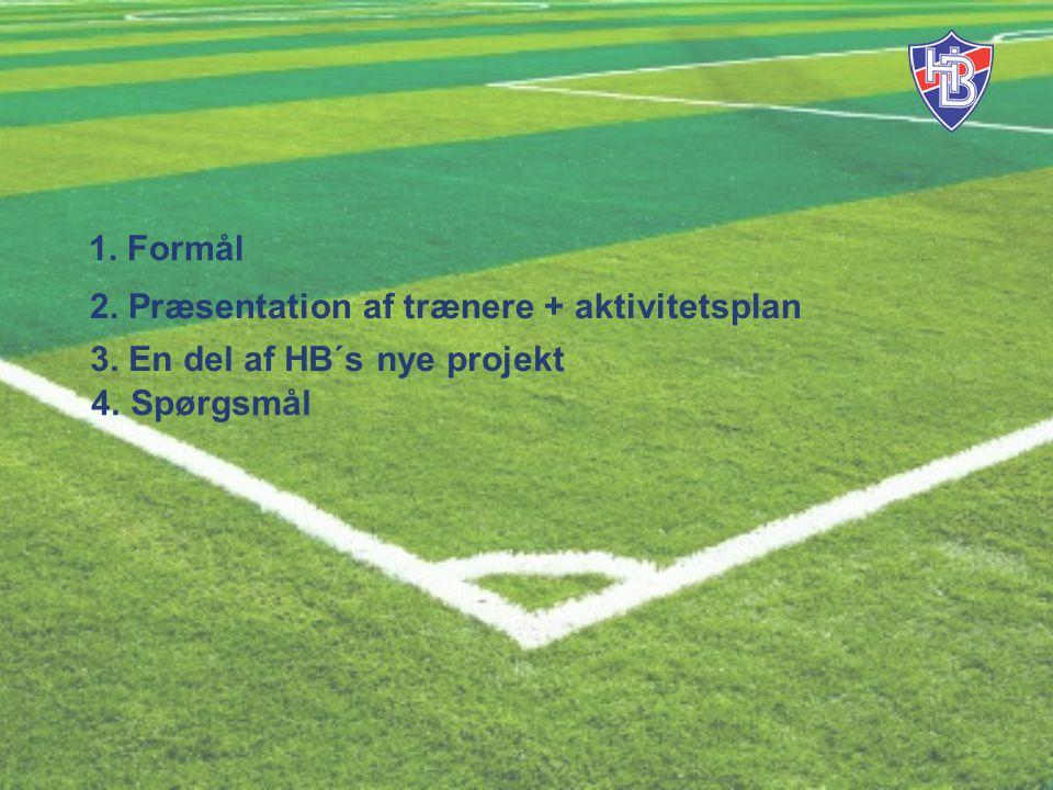 4. Spørgsmål 1. Formål 2. Præsentation af trænere + aktivitetsplan 3. En del af HB´s nye projekt