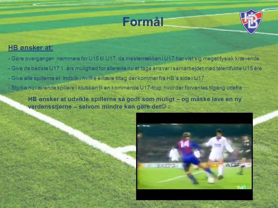 Formål HB ønsker at: - Gøre overgangen nemmere for U15 til U17, da mesterrækken i U17 har vist sig meget fysisk krævende - Give de bedste U17 1.