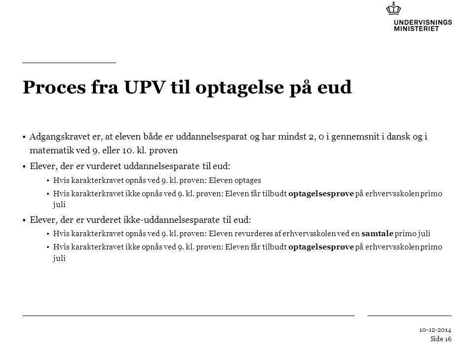 Tilføj hjælpelinier: 1.Højreklik et sted i det grå område rundt om dette dias 2.Vælg 'Gitter og Hjælpelinier...' 3.Tilvælg 'Vis hjælpelinier på skærm' Proces fra UPV til optagelse på eud Adgangskravet er, at eleven både er uddannelsesparat og har mindst 2, 0 i gennemsnit i dansk og i matematik ved 9.