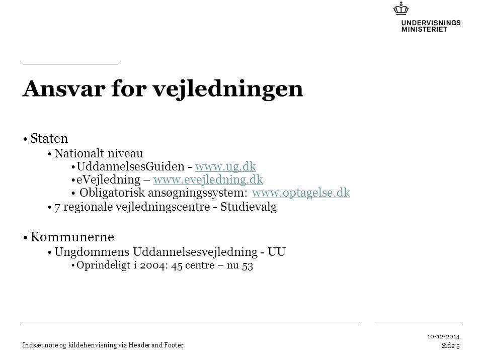 Tilføj hjælpelinier: 1.Højreklik et sted i det grå område rundt om dette dias 2.Vælg 'Gitter og Hjælpelinier...' 3.Tilvælg 'Vis hjælpelinier på skærm' Ansvar for vejledningen Staten Nationalt niveau UddannelsesGuiden - www.ug.dkwww.ug.dk eVejledning – www.evejledning.dkwww.evejledning.dk Obligatorisk ansøgningssystem: www.optagelse.dkwww.optagelse.dk 7 regionale vejledningscentre - Studievalg Kommunerne Ungdommens Uddannelsesvejledning - UU Oprindeligt i 2004: 45 centre – nu 53 10-12-2014 Indsæt note og kildehenvisning via Header and Footer Side 5