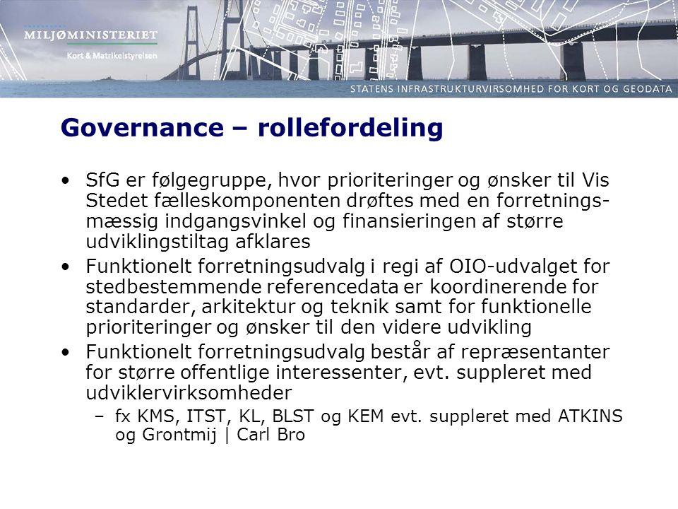Governance – rollefordeling SfG er følgegruppe, hvor prioriteringer og ønsker til Vis Stedet fælleskomponenten drøftes med en forretnings- mæssig indgangsvinkel og finansieringen af større udviklingstiltag afklares Funktionelt forretningsudvalg i regi af OIO-udvalget for stedbestemmende referencedata er koordinerende for standarder, arkitektur og teknik samt for funktionelle prioriteringer og ønsker til den videre udvikling Funktionelt forretningsudvalg består af repræsentanter for større offentlige interessenter, evt.
