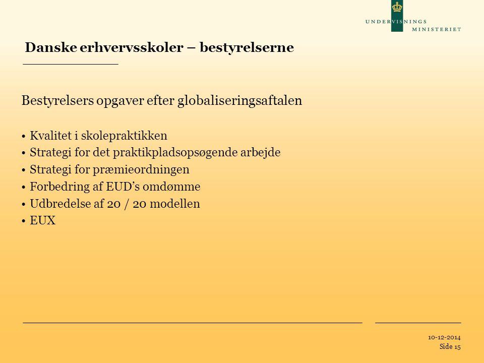 Tilføj hjælpelinier: 1.Højreklik et sted i det grå område rundt om dette dias 2.Vælg 'Gitter og Hjælpelinier...' 3.Tilvælg 'Vis hjælpelinier på skærm' 10-12-2014 Side 15 Danske erhvervsskoler – bestyrelserne Bestyrelsers opgaver efter globaliseringsaftalen Kvalitet i skolepraktikken Strategi for det praktikpladsopsøgende arbejde Strategi for præmieordningen Forbedring af EUD's omdømme Udbredelse af 20 / 20 modellen EUX