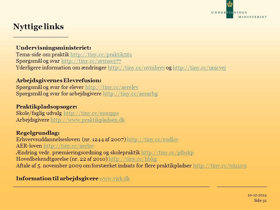 Tilføj hjælpelinier: 1.Højreklik et sted i det grå område rundt om dette dias 2.Vælg 'Gitter og Hjælpelinier...' 3.Tilvælg 'Vis hjælpelinier på skærm' 10-12-2014 Side 32 Undervisningsministeriet: Tema-side om praktik http://tiny.cc/praktik561http://tiny.cc/praktik561 Spørgsmål og svar http://tiny.cc/uvmss377http://tiny.cc/uvmss377 Yderligere information om ændringer http://tiny.cc/uvmbrev og http://tiny.cc/unicvejhttp://tiny.cc/uvmbrevhttp://tiny.cc/unicvej Arbejdsgivernes Elevrefusion: Spørgsmål og svar for elever http://tiny.cc/aerelevhttp://tiny.cc/aerelev Spørgsmål og svar for arbejdsgivere http://tiny.cc/aerarbghttp://tiny.cc/aerarbg Praktikpladsopsøger: Skole/faglig udvalg http://tiny.cc/emuppshttp://tiny.cc/emupps Arbejdsgivere http://www.praktikpladsen.dkhttp://www.praktikpladsen.dk Regelgrundlag: Erhvervsuddannelsesloven (nr.