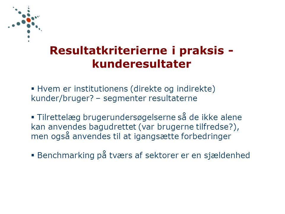 Resultatkriterierne i praksis - kunderesultater  Hvem er institutionens (direkte og indirekte) kunder/bruger.