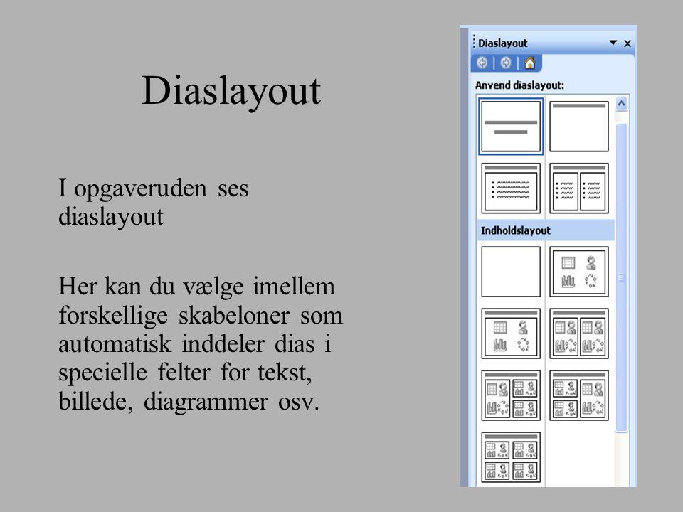 Diaslayout I opgaveruden ses diaslayout Her kan du vælge imellem forskellige skabeloner som automatisk inddeler dias i specielle felter for tekst, billede, diagrammer osv.