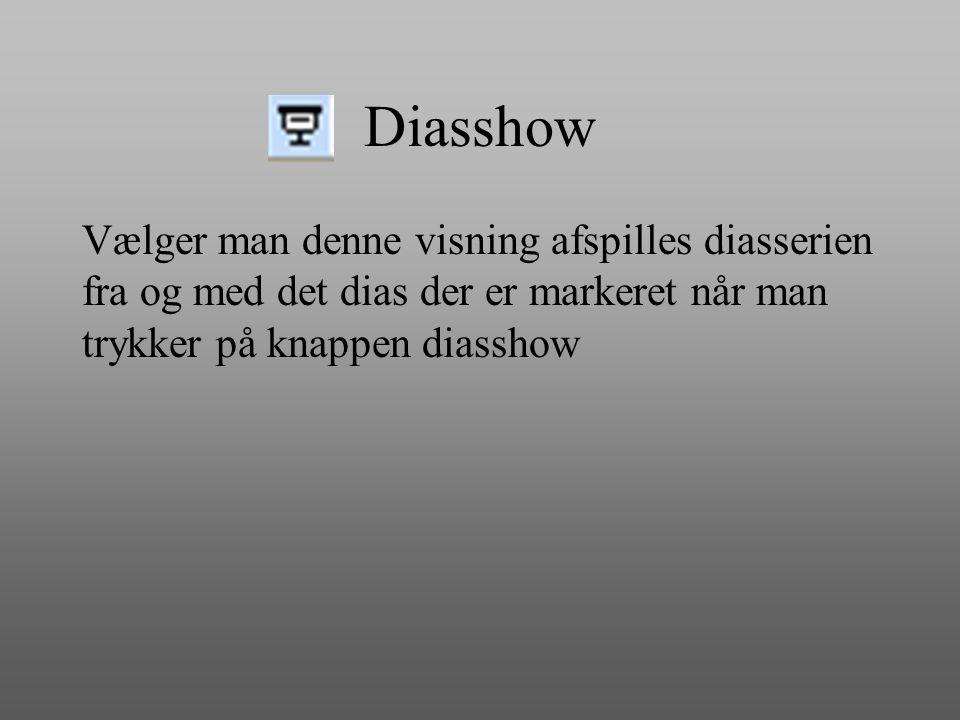 Diasshow Vælger man denne visning afspilles diasserien fra og med det dias der er markeret når man trykker på knappen diasshow