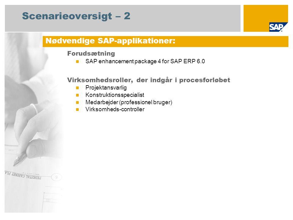 Scenarieoversigt – 2 Forudsætning SAP enhancement package 4 for SAP ERP 6.0 Virksomhedsroller, der indgår i procesforløbet Projektansvarlig Konstruktionsspecialist Medarbejder (professionel bruger) Virksomheds-controller Nødvendige SAP-applikationer: