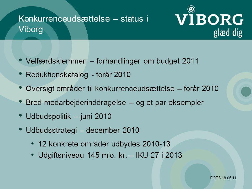 FOPS 18.05.11 Konkurrenceudsættelse – status i Viborg Velfærdsklemmen – forhandlinger om budget 2011 Reduktionskatalog - forår 2010 Oversigt områder til konkurrenceudsættelse – forår 2010 Bred medarbejderinddragelse – og et par eksempler Udbudspolitik – juni 2010 Udbudsstrategi – december 2010 12 konkrete områder udbydes 2010-13 Udgiftsniveau 145 mio.