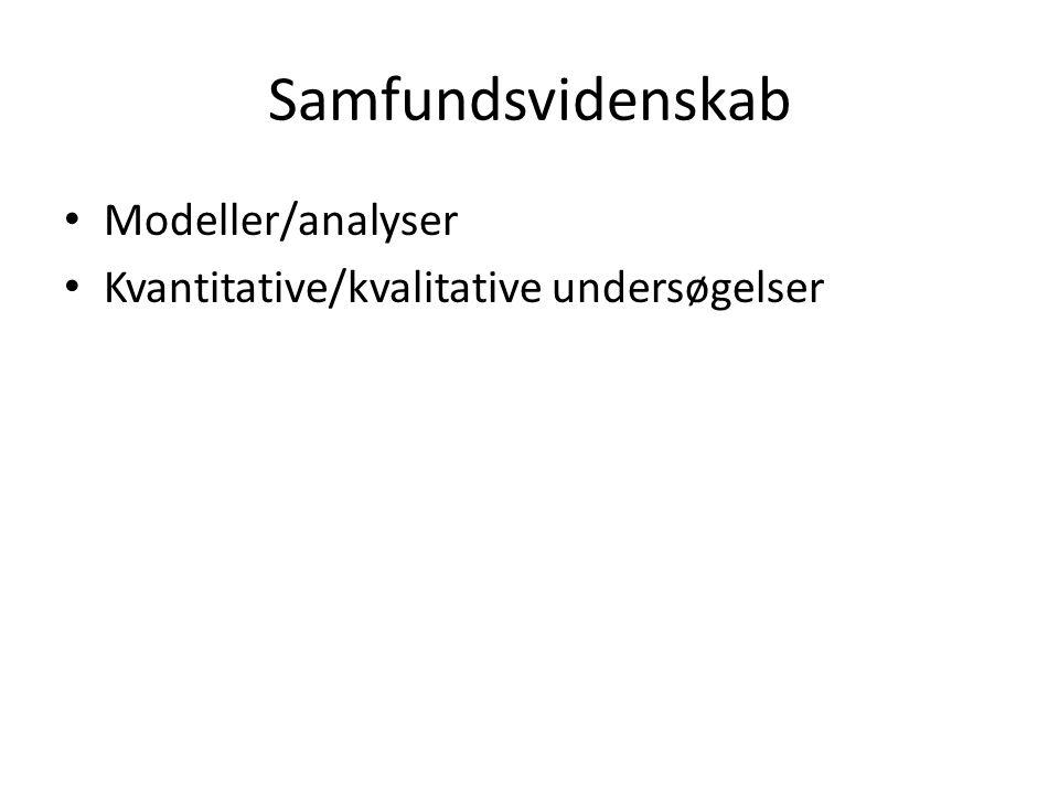 Samfundsvidenskab Modeller/analyser Kvantitative/kvalitative undersøgelser