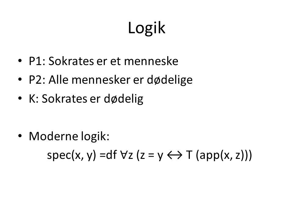Logik P1: Sokrates er et menneske P2: Alle mennesker er dødelige K: Sokrates er dødelig Moderne logik: spec(x, y) =df ∀ z (z = y ↔ T (app(x, z)))