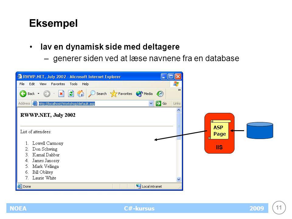 11 NOEA2009C#-kursus Eksempel lav en dynamisk side med deltagere –generer siden ved at læse navnene fra en database IIS ASP Page