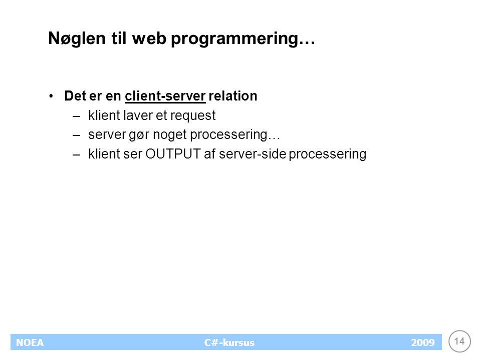 14 NOEA2009C#-kursus Nøglen til web programmering… Det er en client-server relation –klient laver et request –server gør noget processering… –klient ser OUTPUT af server-side processering