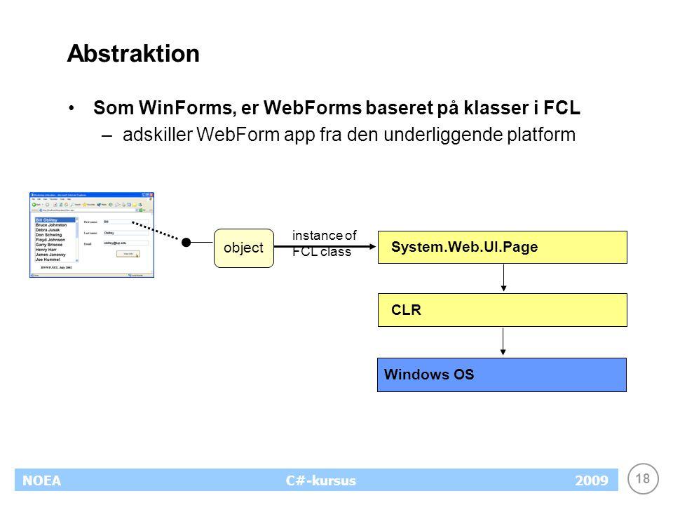 18 NOEA2009C#-kursus Abstraktion Som WinForms, er WebForms baseret på klasser i FCL –adskiller WebForm app fra den underliggende platform System.Web.UI.Page CLR Windows OS instance of FCL class object