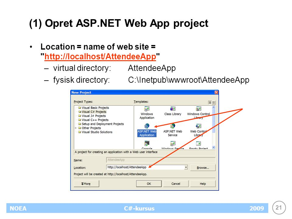21 NOEA2009C#-kursus (1) Opret ASP.NET Web App project Location = name of web site = http://localhost/AttendeeApp http://localhost/AttendeeApp –virtual directory:AttendeeApp –fysisk directory:C:\Inetpub\wwwroot\AttendeeApp