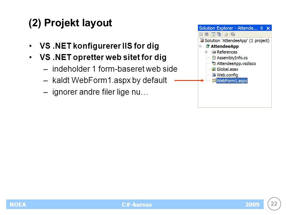 22 NOEA2009C#-kursus (2) Projekt layout VS.NET konfigurerer IIS for dig VS.NET opretter web sitet for dig –indeholder 1 form-baseret web side –kaldt WebForm1.aspx by default –ignorer andre filer lige nu…
