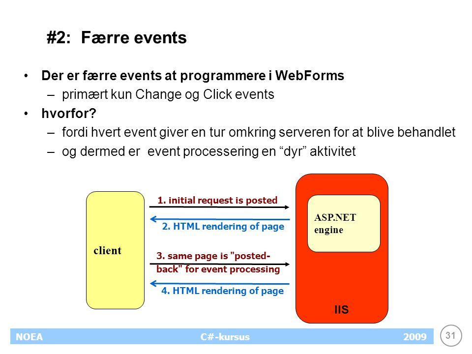 31 NOEA2009C#-kursus #2: Færre events Der er færre events at programmere i WebForms –primært kun Change og Click events hvorfor.