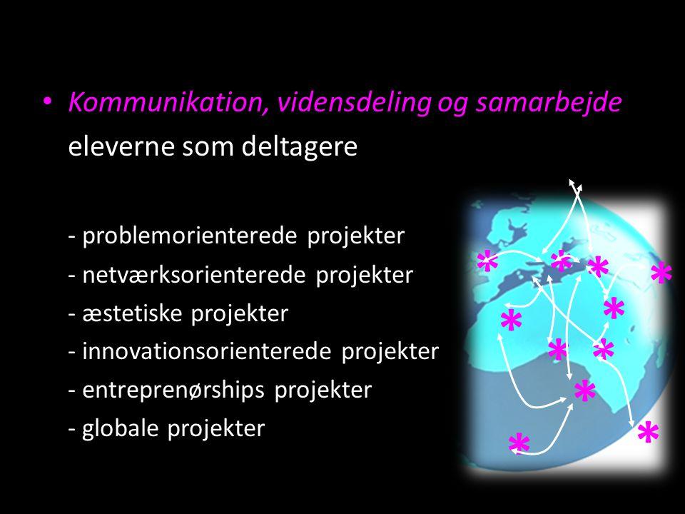 Kommunikation, vidensdeling og samarbejde eleverne som deltagere - problemorienterede projekter - netværksorienterede projekter - æstetiske projekter - innovationsorienterede projekter - entreprenørships projekter - globale projekter * * * ** * * * * * *