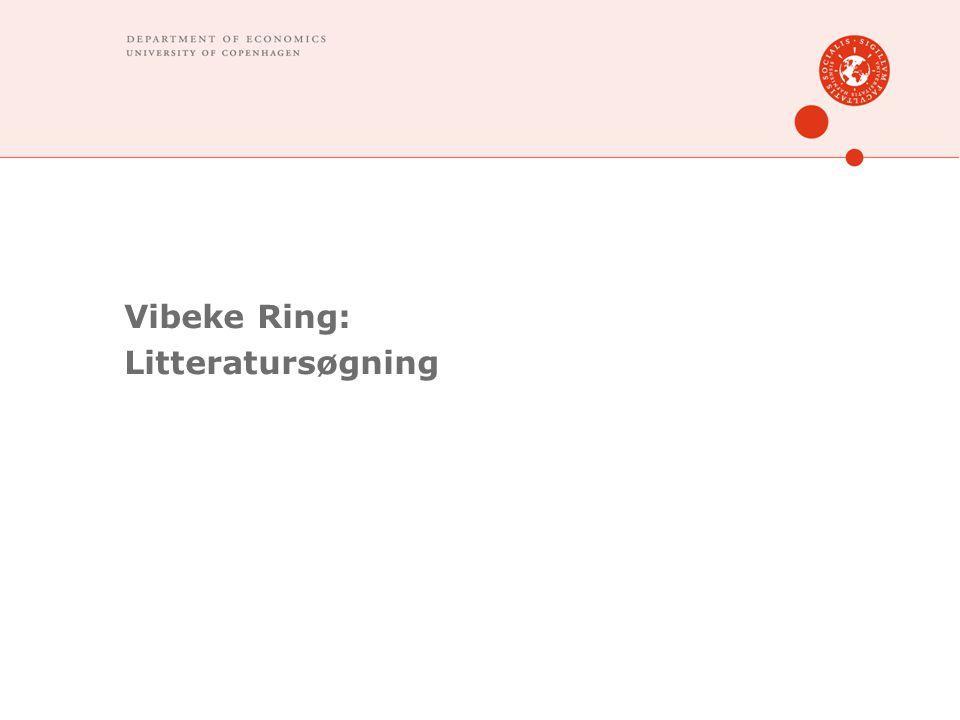 Vibeke Ring: Litteratursøgning