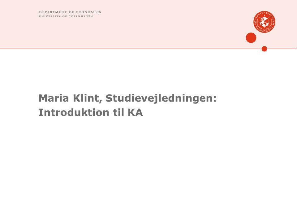 Maria Klint, Studievejledningen: Introduktion til KA