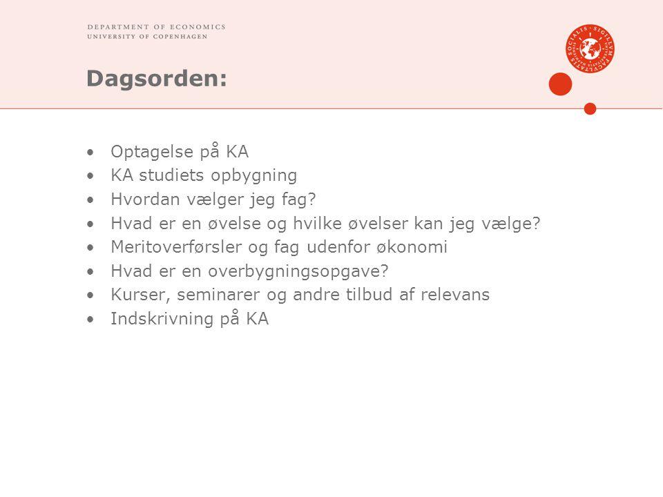 Dagsorden: Optagelse på KA KA studiets opbygning Hvordan vælger jeg fag.