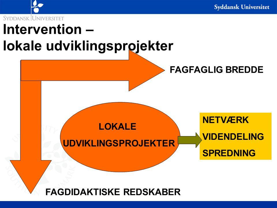 Intervention – lokale udviklingsprojekter FAGFAGLIG BREDDE FAGDIDAKTISKE REDSKABER LOKALE UDVIKLINGSPROJEKTER NETVÆRK VIDENDELING SPREDNING