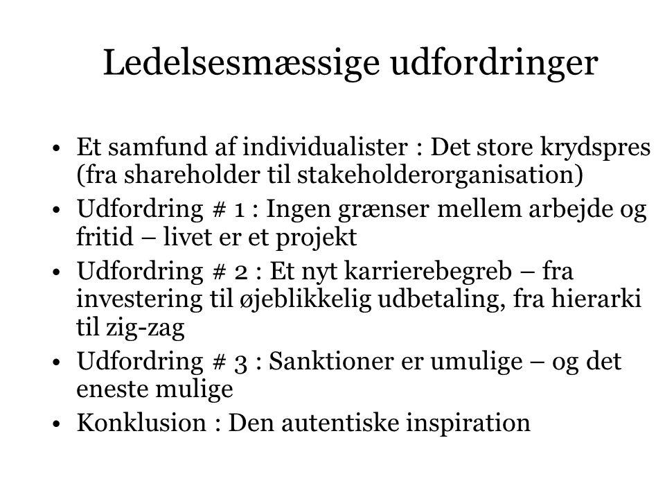 Ledelsesmæssige udfordringer Et samfund af individualister : Det store krydspres (fra shareholder til stakeholderorganisation) Udfordring # 1 : Ingen grænser mellem arbejde og fritid – livet er et projekt Udfordring # 2 : Et nyt karrierebegreb – fra investering til øjeblikkelig udbetaling, fra hierarki til zig-zag Udfordring # 3 : Sanktioner er umulige – og det eneste mulige Konklusion : Den autentiske inspiration