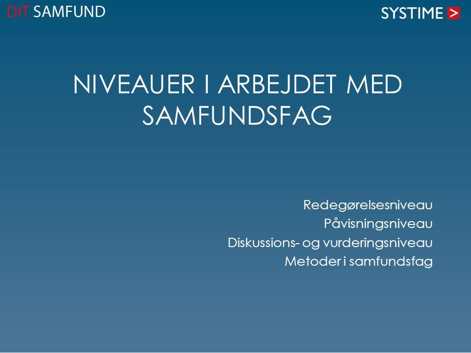 NIVEAUER I ARBEJDET MED SAMFUNDSFAG Redegørelsesniveau Påvisningsniveau Diskussions- og vurderingsniveau Metoder i samfundsfag