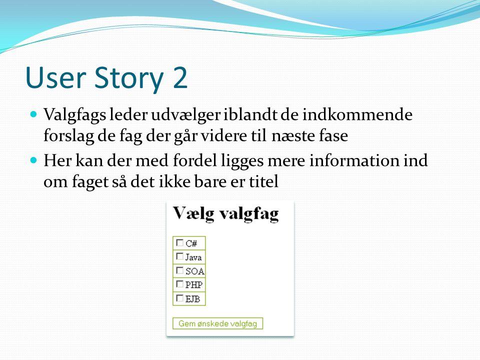 User Story 2 Valgfags leder udvælger iblandt de indkommende forslag de fag der går videre til næste fase Her kan der med fordel ligges mere information ind om faget så det ikke bare er titel