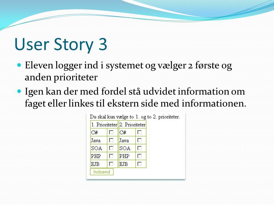User Story 3 Eleven logger ind i systemet og vælger 2 første og anden prioriteter Igen kan der med fordel stå udvidet information om faget eller linkes til ekstern side med informationen.