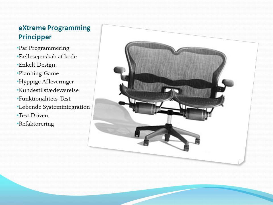 eXtreme Programming Principper Par Programmering Fællesejerskab af kode Enkelt Design Planning Game Hyppige Afleveringer Kundestilstædeværelse Funktionalitets Test Løbende Systemintegration Test Driven Refaktorering