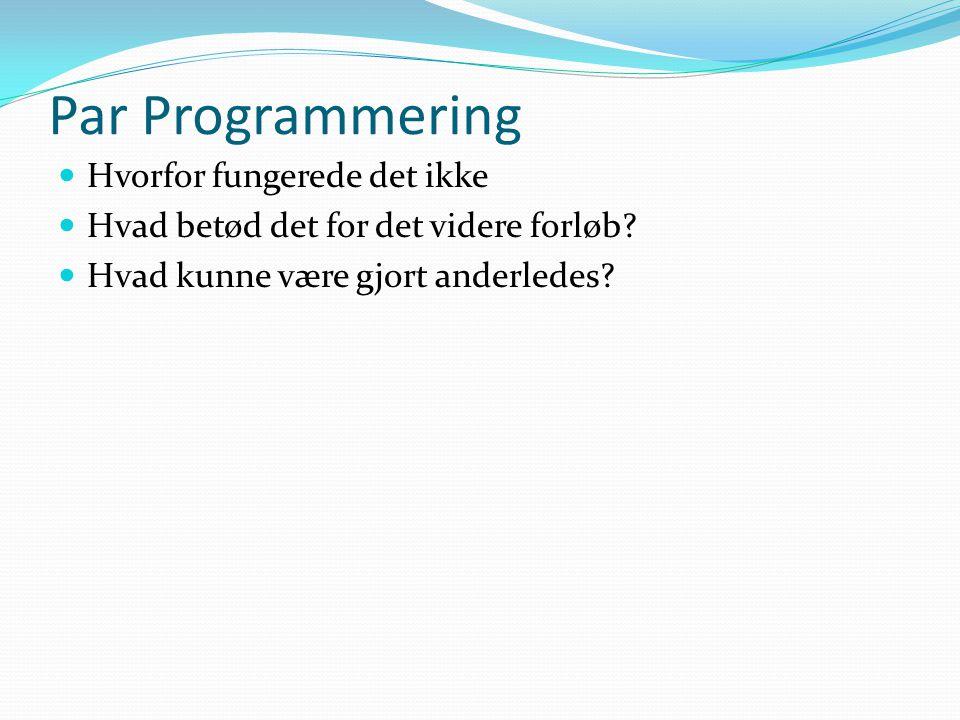 Par Programmering Hvorfor fungerede det ikke Hvad betød det for det videre forløb.