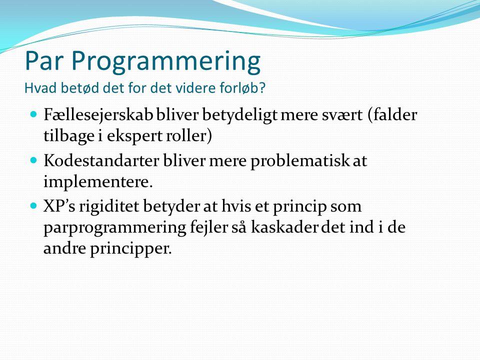 Par Programmering Hvad betød det for det videre forløb.
