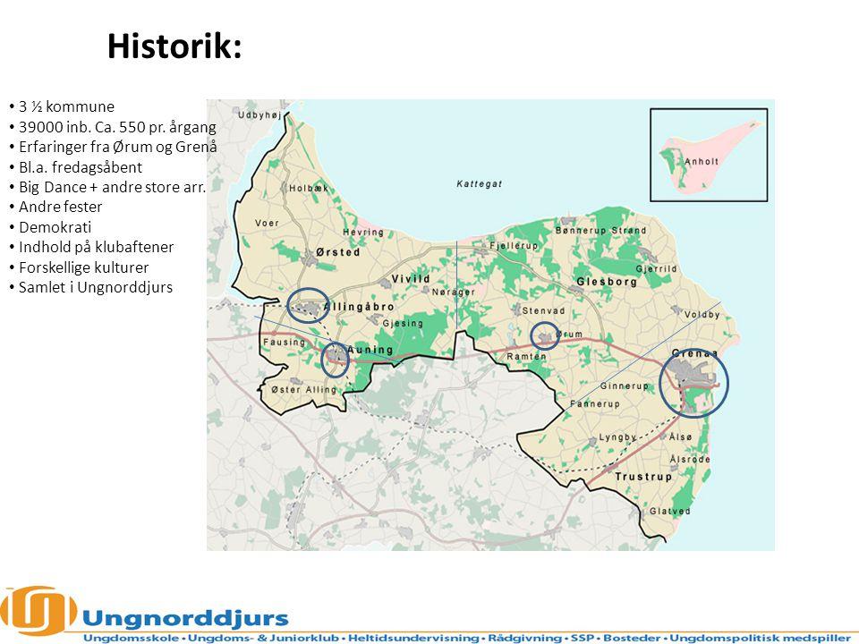 Historik: 3 ½ kommune 39000 inb. Ca. 550 pr. årgang Erfaringer fra Ørum og Grenå Bl.a.