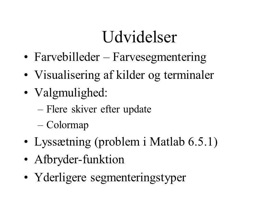 Udvidelser Farvebilleder – Farvesegmentering Visualisering af kilder og terminaler Valgmulighed: –Flere skiver efter update –Colormap Lyssætning (problem i Matlab 6.5.1) Afbryder-funktion Yderligere segmenteringstyper