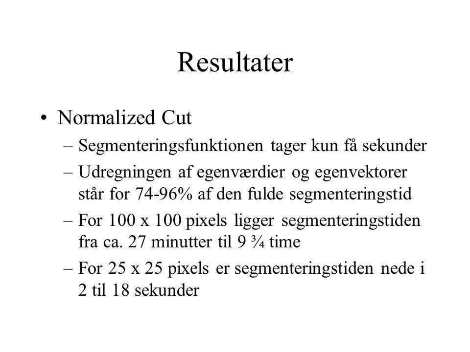 Resultater Normalized Cut –Segmenteringsfunktionen tager kun få sekunder –Udregningen af egenværdier og egenvektorer står for 74-96% af den fulde segmenteringstid –For 100 x 100 pixels ligger segmenteringstiden fra ca.
